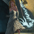 ghost chasing princess in dark dungeon Print by Martin Davey
