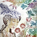 Girl with butterflies Print by Milen Litchkov