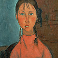 Girl with Pigtails Print by Amedeo Modigliani