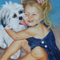 Girl with Puppy Poster by Joni McPherson