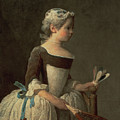 Girl with Racket and Shuttlecock Print by Jean-Baptiste Simeon Chardin