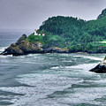 Gloomy Heceta Lighthouse  Poster by Connie Cooper-Edwards
