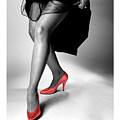 Glorious Gams - Red Shoes Print by Jerry Taliaferro