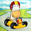 Go Cart Cow Poster by Scott Nelson