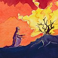 God speaks to Moses from the burning bush Poster by Elizabeth Wang