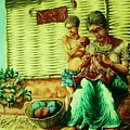Granny and Grand Son Print by Pralhad Gurung