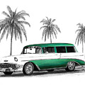 Green 56 Chevy Wagon Poster by Peter Piatt
