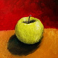 Green Apple with Red and Gold Print by Michelle Calkins