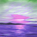 Green Skies and Purple Seas Sunset Print by Gina De Gorna