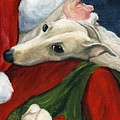 Greyhound and Santa Poster by Charlotte Yealey