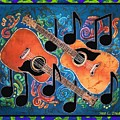 Guitars - Bordered Print by Sue Duda