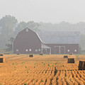 Hay Bales and Red Barn at Sunrise Poster by Jack Schultz