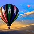 Hot Air Balloons at Sunset Print by Bob Orsillo