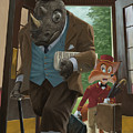 hotel rhino and porter fox Poster by Martin Davey