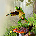 Humorous Tree Frog Playing a Fiddle Print by Gina Femrite