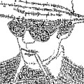 Hunter S. Thompson Black and White Word Portrait Print by Kato Smock