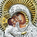 Icon of the Bl Virgin Mary w Christ Child Print by Jake Hartz