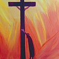 In our sufferings we can lean on the Cross by trusting in Christ's love Print by Elizabeth Wang