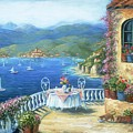 Italian Lunch On The Terrace Print by Marilyn Dunlap