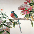 Jay on a flowering branch Poster by Chinese School