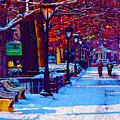 Jogging in the Snow Along Boathouse Row Print by Bill Cannon