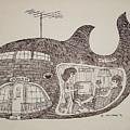 Jonah in his whale home. Print by Fred Jinkins