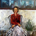 Lady in Waiting Print by Mary St Peter