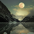 Lake Louise Moon Glow Poster by Andrea Hazel Ihlefeld