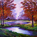 Lakeside Cabin Print by David Lloyd Glover