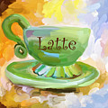 Latte Coffee Cup Poster by Jai Johnson