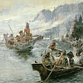 Lewis and Clark on the Lower Columbia River Poster by Charles Marion Russell