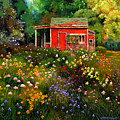 Little Red Flower Shed Print by John Lautermilch