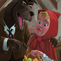 little red riding hood with nasty wolf Poster by Martin Davey