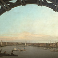 London seen through an arch of Westminster Bridge Print by Canaletto
