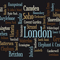 London Text Map Poster by Michael Tompsett