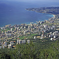 Looking over Jounieh Bay from Harissa Print by Sami Sarkis