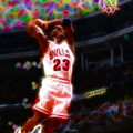 Magical Michael Jordan White Jersey Print by Paul Van Scott