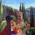 Mallorcan Monastery Print by Shirley Leswick