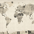 Map of the World Map from Old Postcards Print by Michael Tompsett