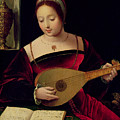 Mary Magdalene Playing the Lute Poster by Master of the Female Half Lengths