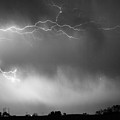 May Showers 2 in BW - Lightning Thunderstorm 5-10-2011 Boulder C Print by James BO  Insogna