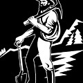 miner with pick axe and shovel  Print by Aloysius Patrimonio