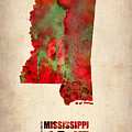 Mississippi Watercolor Map Poster by Naxart Studio