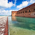 Moat and Walls of Fort Jefferson Print by George Oze