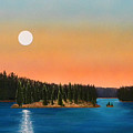 Moonrise Over The Lake Print by Frank Wilson