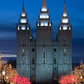 Mormon Temple Christmas Lights Poster by Utah Images