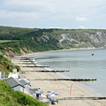 MORNING BAY Pt looking up Swanage Bay on a summer morning beach scene Print by Andy Smy