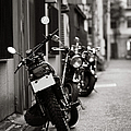 Motorbikes Parked On Street In Tokyo, Japan Poster by photo by Jason Weddington