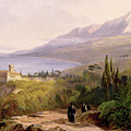Mount Athos and the Monastery of Stavroniketes Print by Edward Lear
