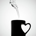 Mug Of Coffee With Handle Of Heart Shape Poster by saulgranda
